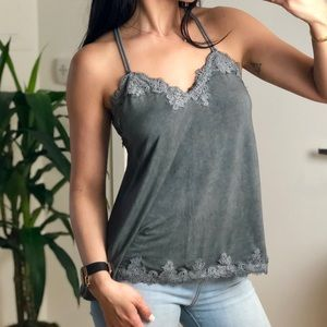 "Tops - LOULAH ""Charcoal"" Jersey Lace Cami"